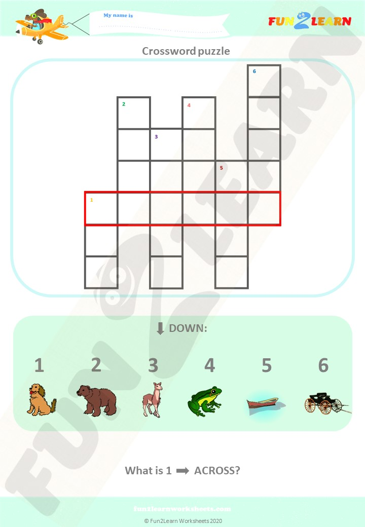 down by the bay worksheet crossword