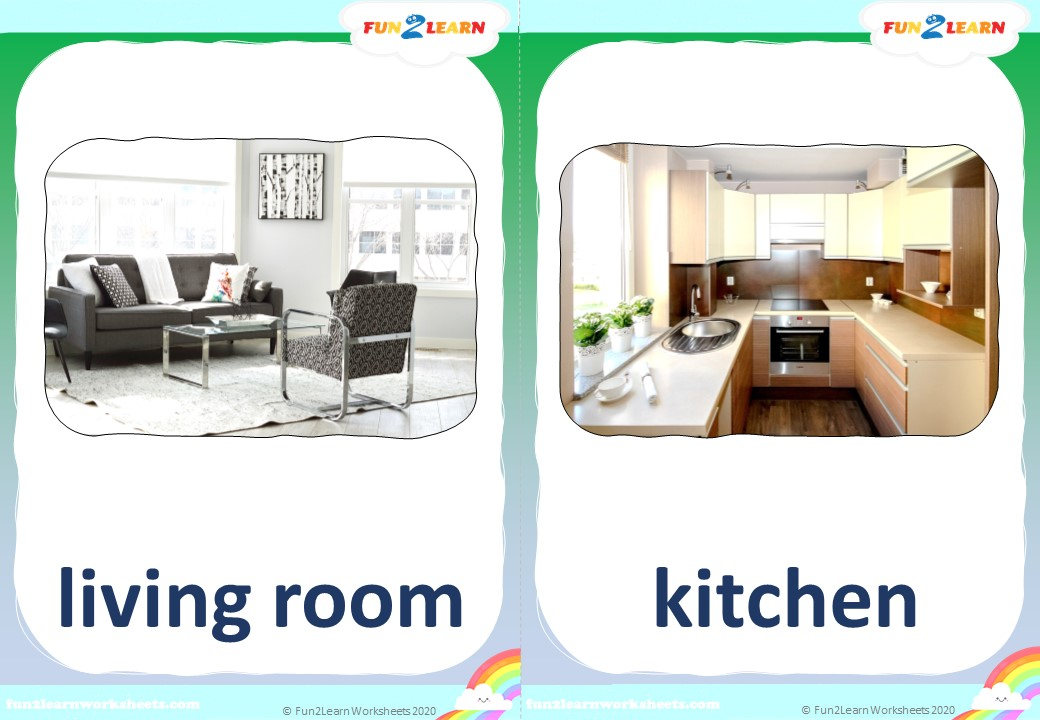 rooms of the house song flashcards