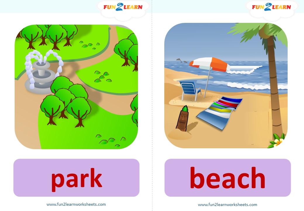 flashcards park beach bank shop pool zoo