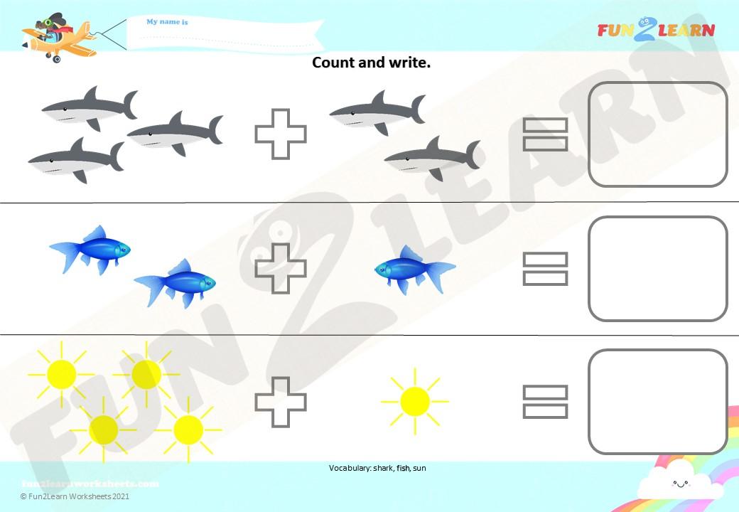 baby shark addition worksheet