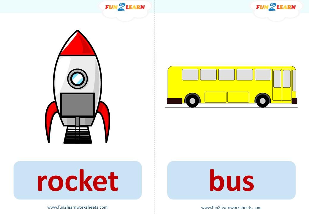 transportation song flashcards