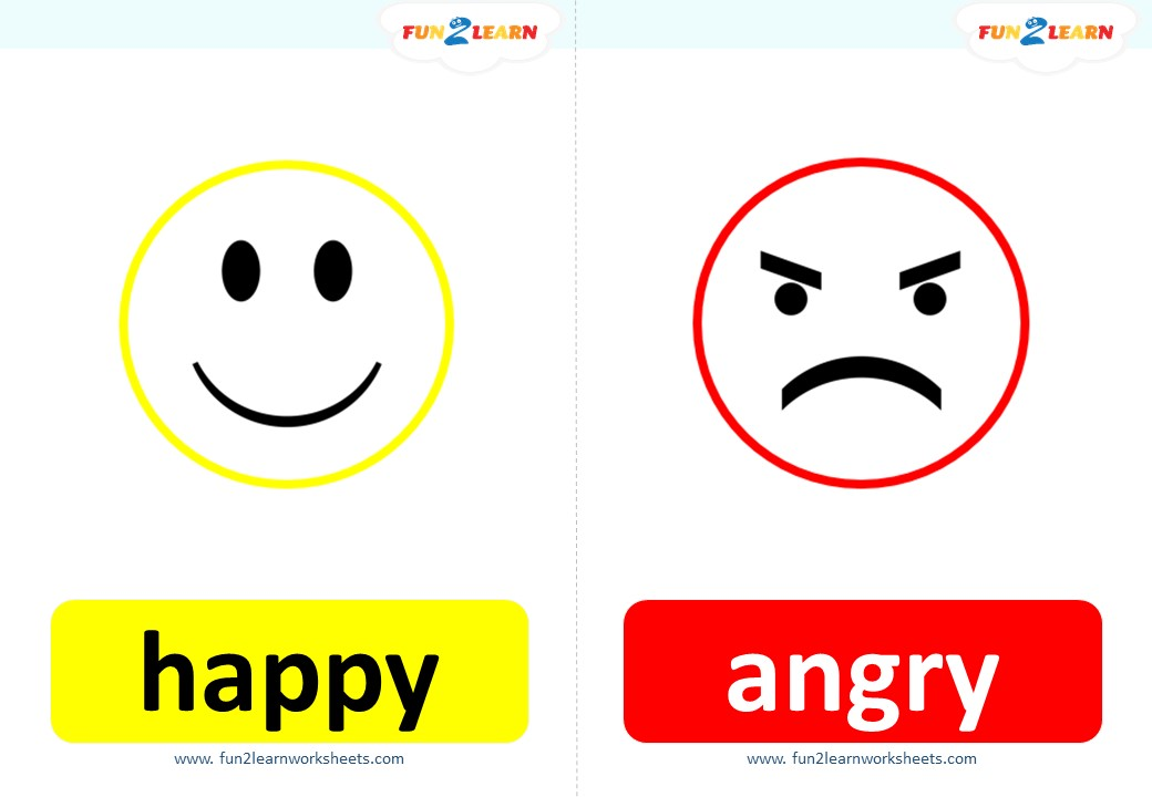 emotions flashcards happy angry