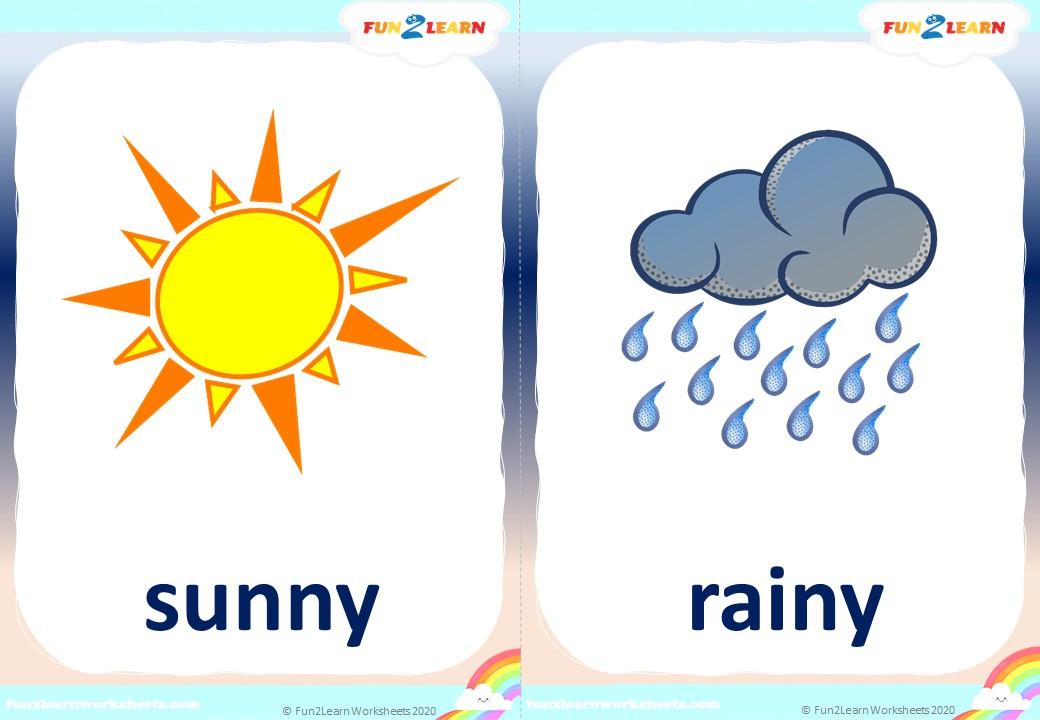 wather flashcards sunny rainy cloudy snowy
