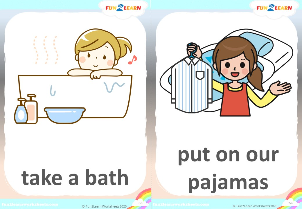 bedtime routine flashcards