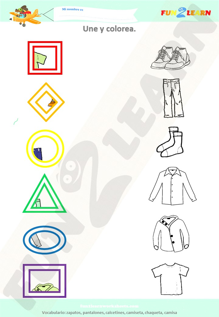 spanish clothes worksheet young learners