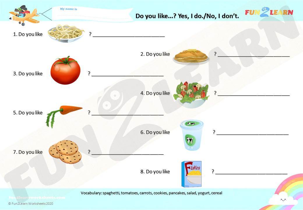 do you like spaghetti worksheet short answers