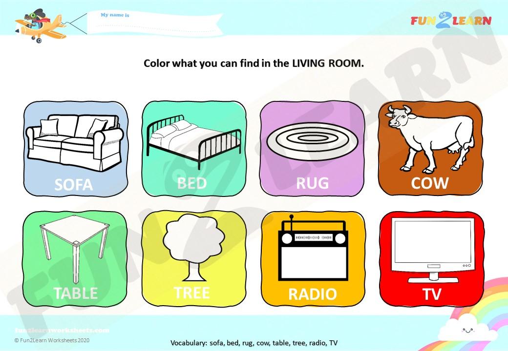 pato's living room worksheet