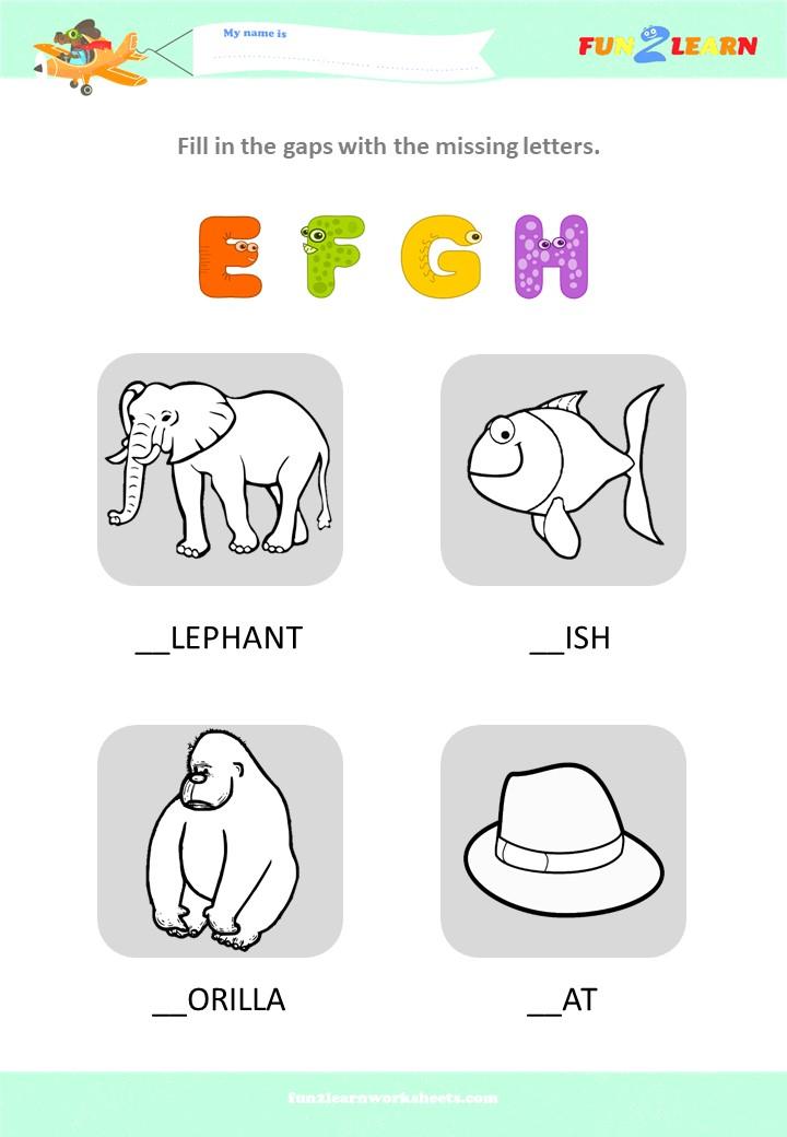 alphabet worksheet EFGH