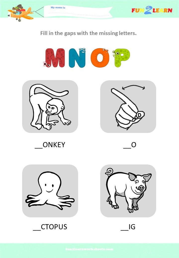 alphabet worksheet MNOP