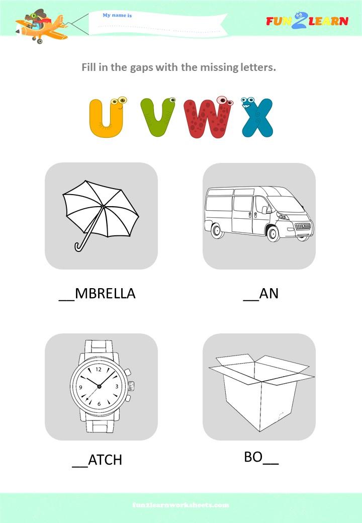 alphabet worksheet uvwx