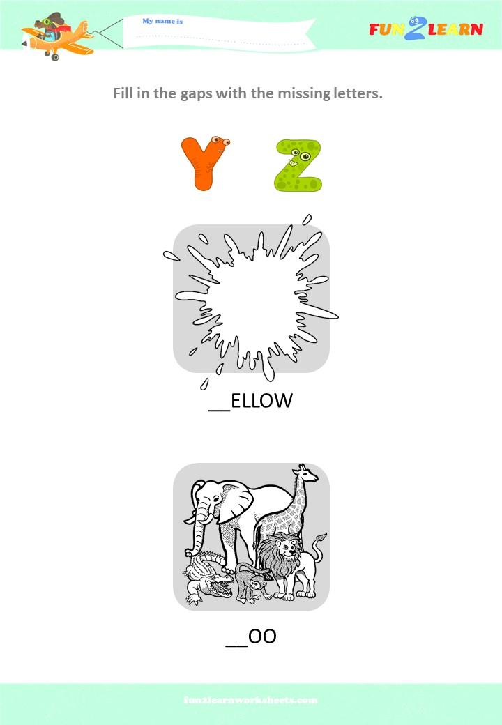 alphabet worksheet yz