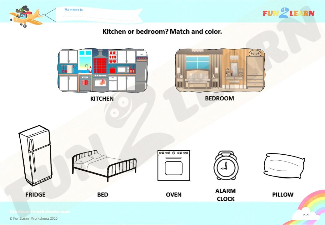 pocoyo kitchen or bedroom esl worksheet