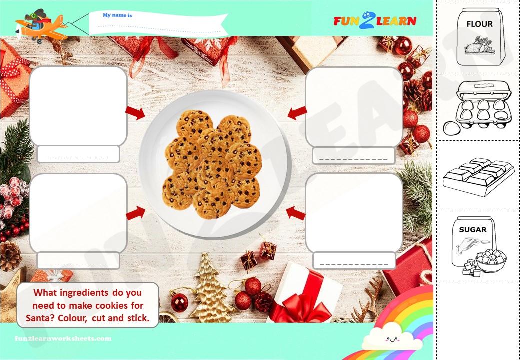 make cookies for santa esl worksheet