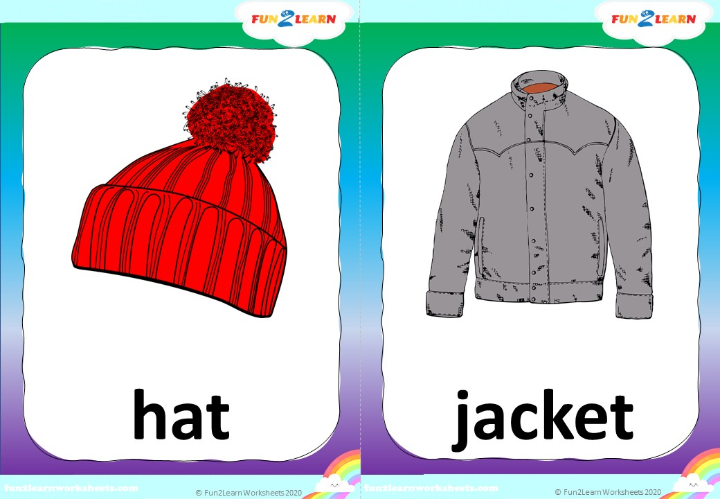 winter clothing song flashcards