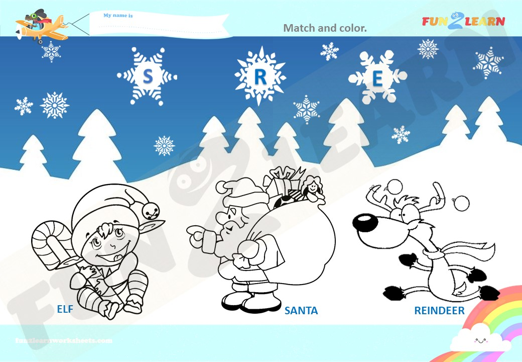 Christmas counting song worksheet
