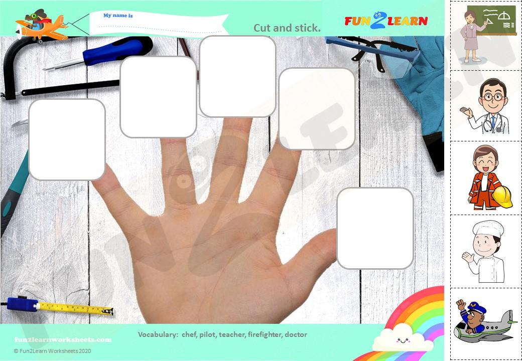 finger family jobs song worksheet