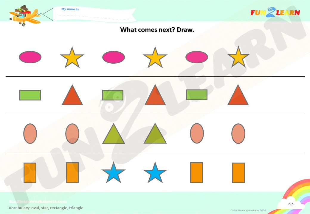 The Shape Song #2 Worksheet (Draw What Comes Next)