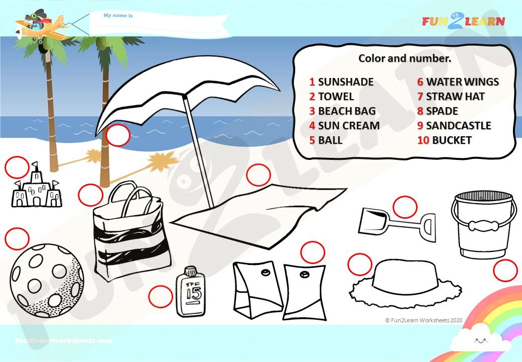 Peppa Pig beach worksheet