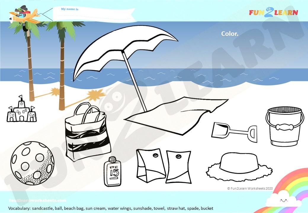 Peppa Pig beach coloring worksheet
