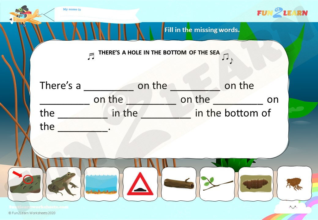 There's A Hole In The Bottom Of The Sea Worksheet