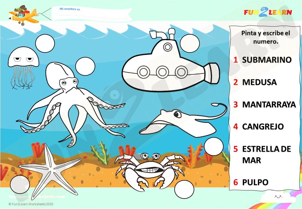Steve and Maggie Español sea animals worksheet