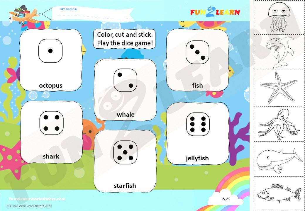 down in the deep blue sea worksheet dice game