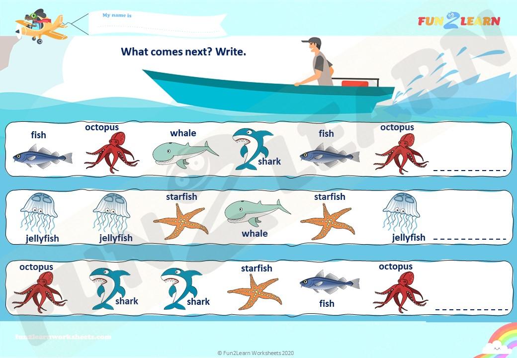 down in the deep blue sea worksheet