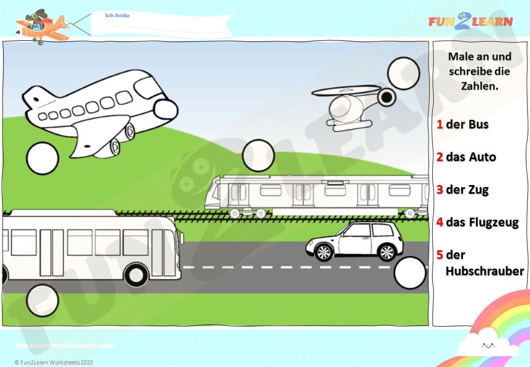Die Räder am Bus worksheet
