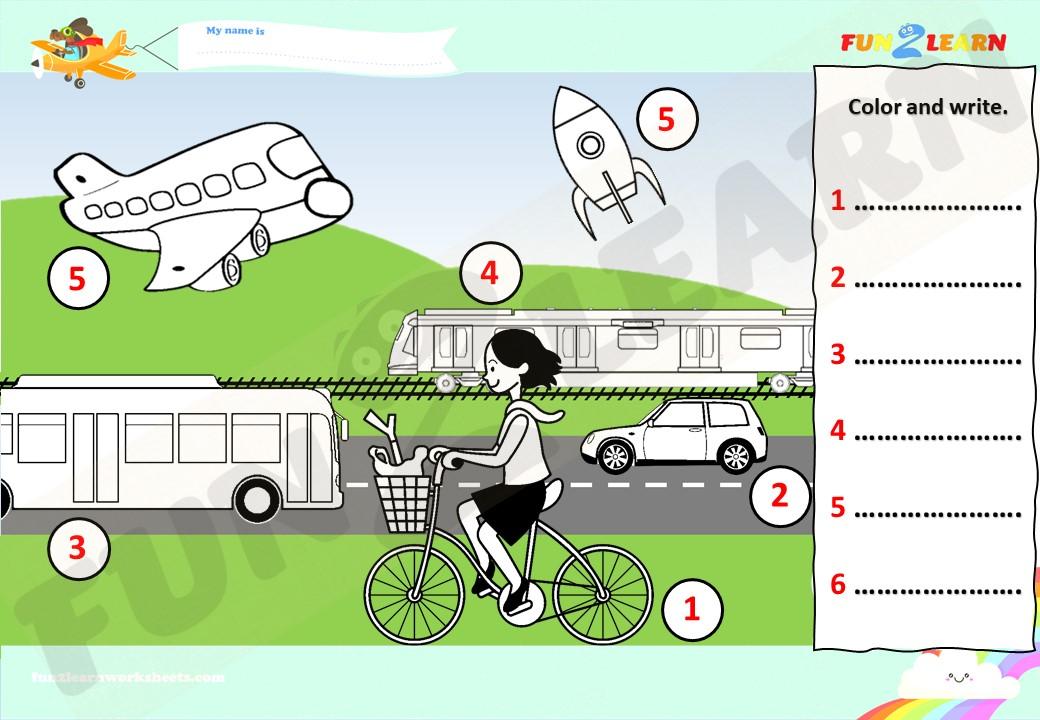 transportation song esl worksheet