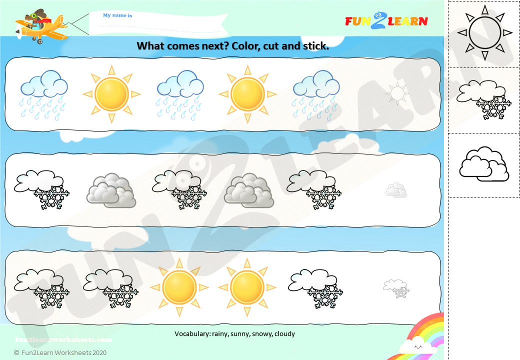 ESL weather worksheet what comes next