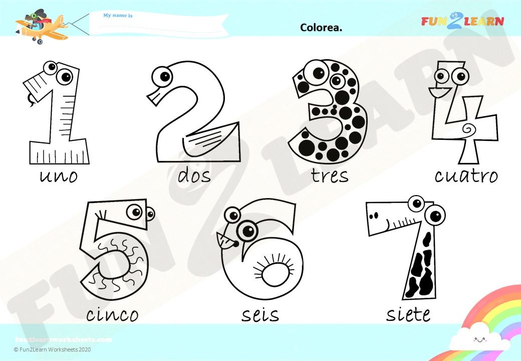 números 1-7 worksheet