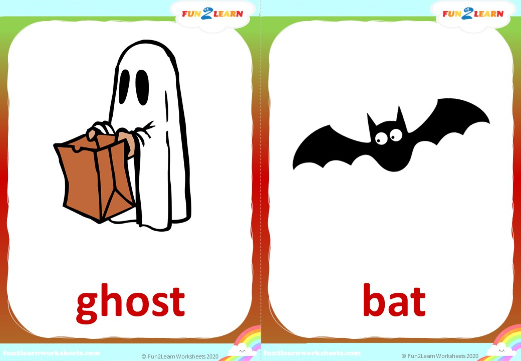 down by the spooky bay halloween flashcards