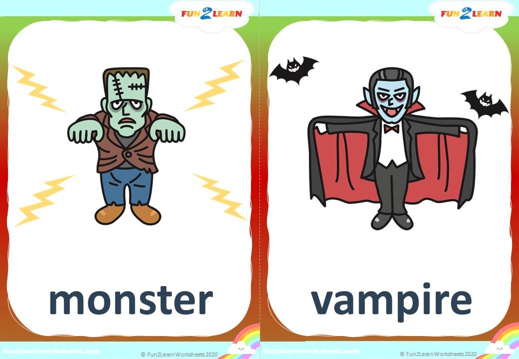 halloween flashcards monster vampire skeleton