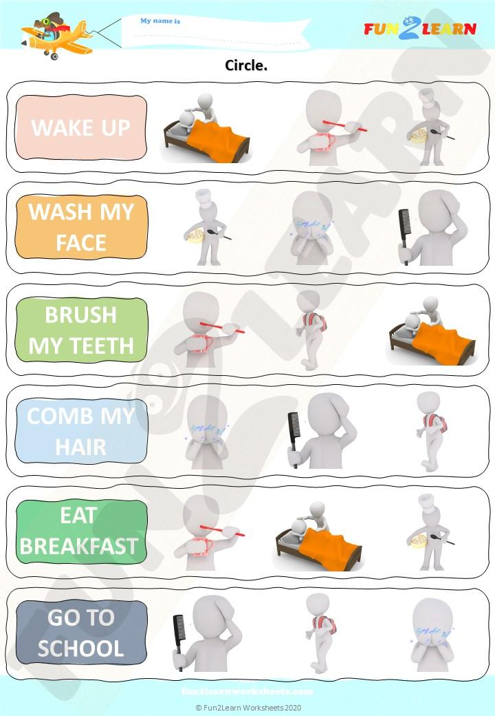 daily routines esl worksheet