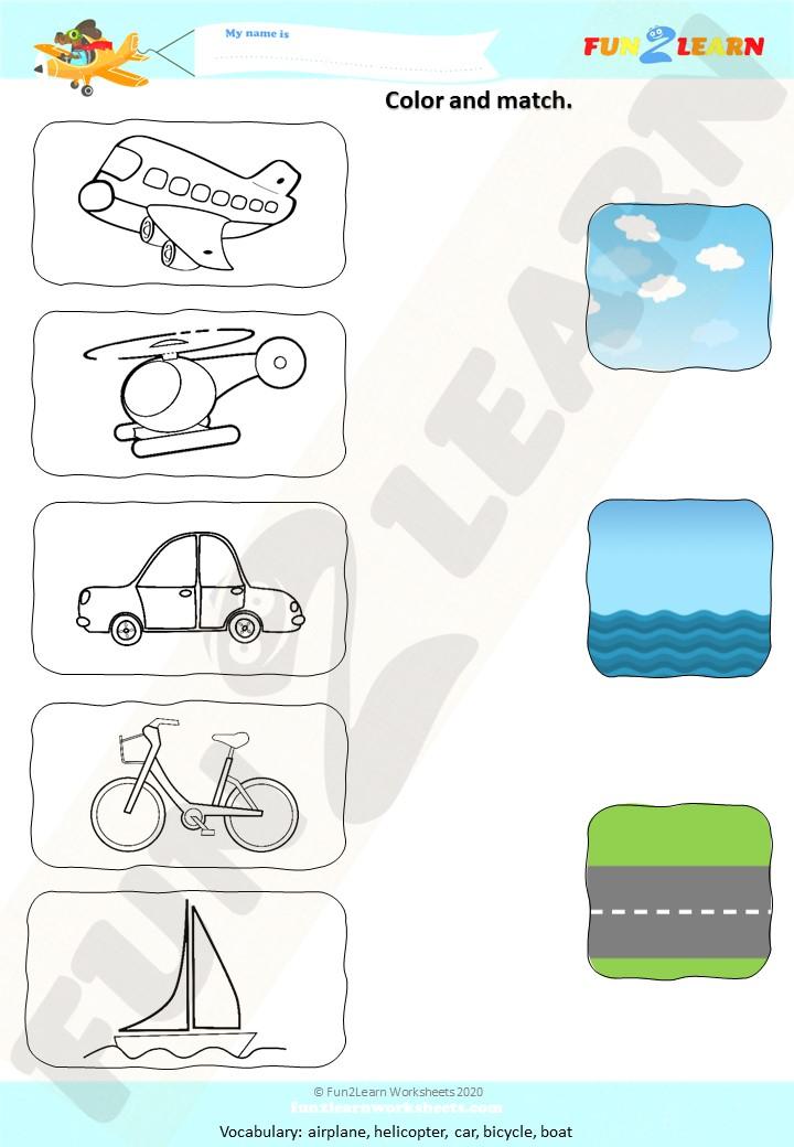 counting transportation song matt worksheet