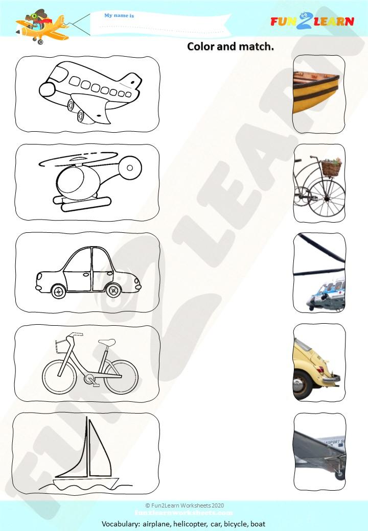 counting transportation song esl worksheet