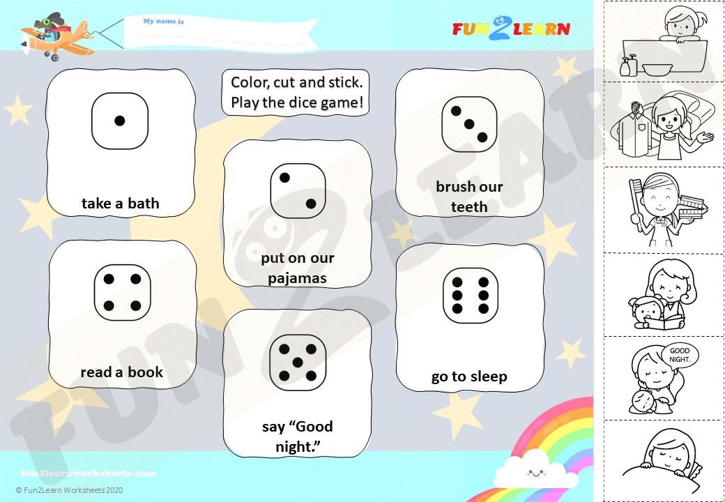 bedtime routines worksheet