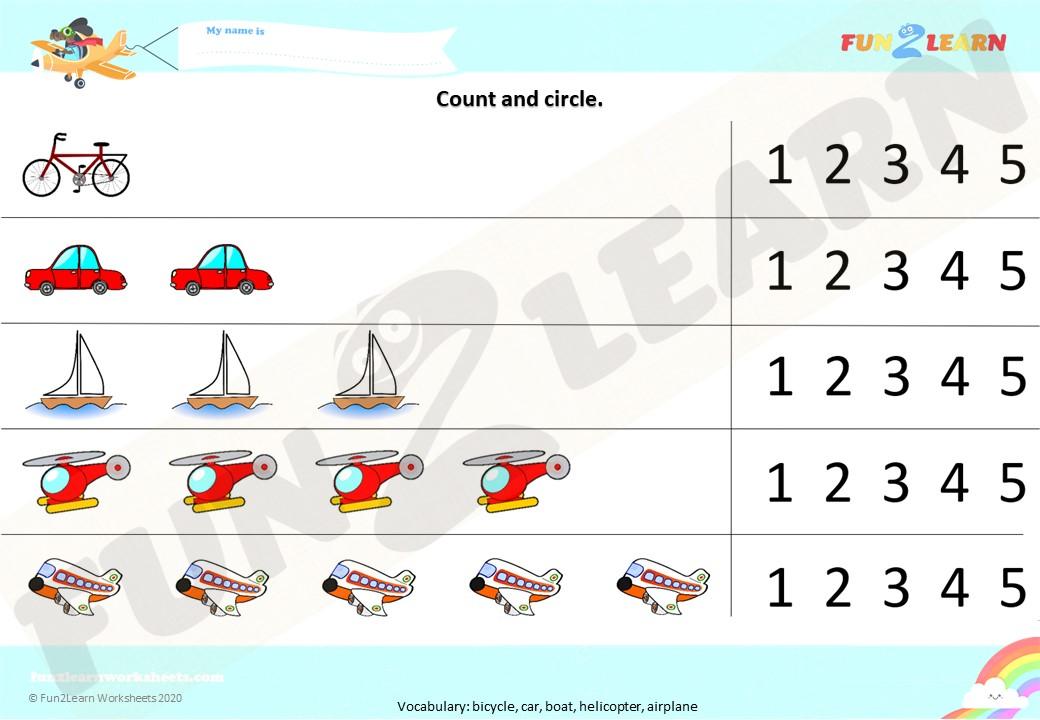 counting transportation song worksheet