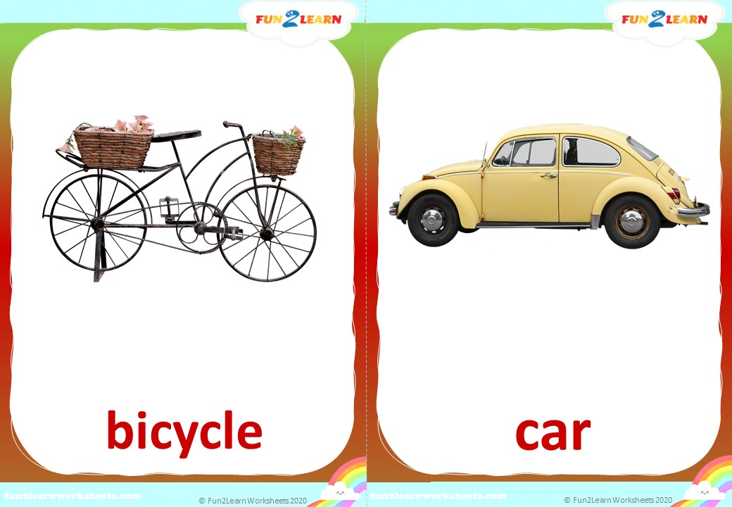 counting transportation song flashcards