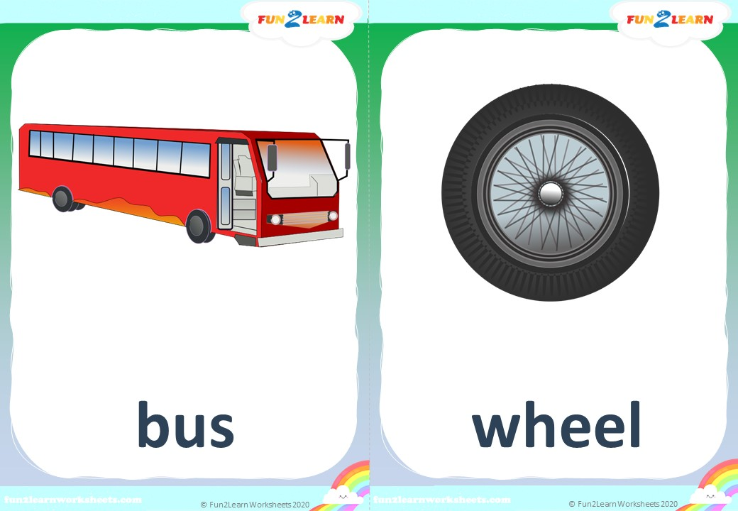 wheels on the bus flashcards free