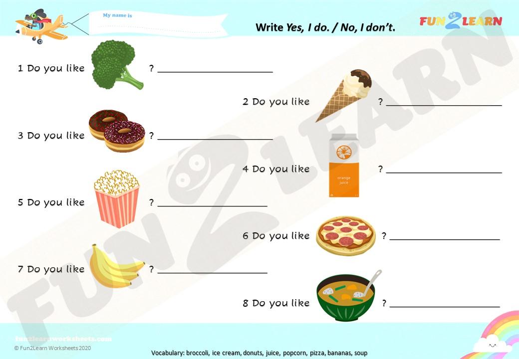 do you like broccoli ice cream worksheet short answers