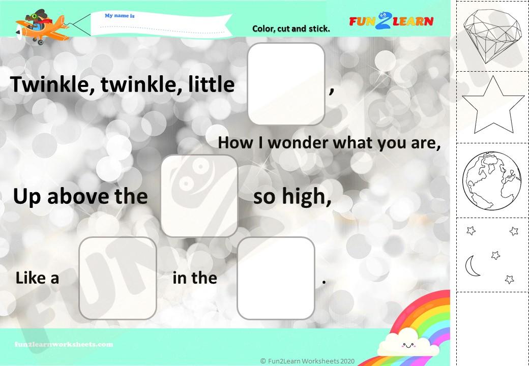 twinkle twinkle esl worksheet