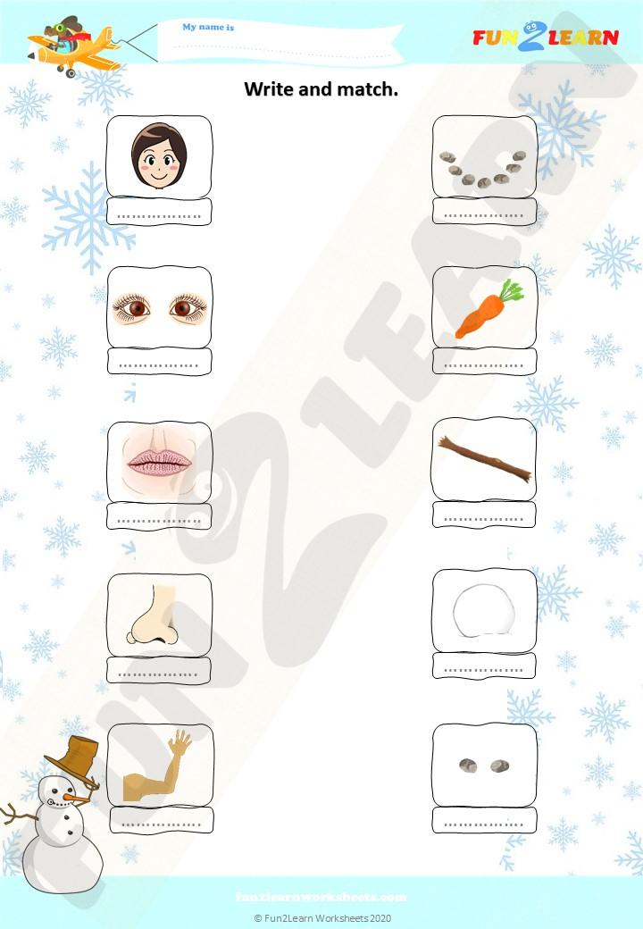 let's make a snowman esl worksheet