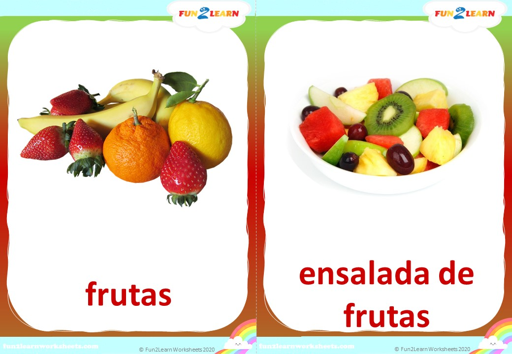 steve and maggie spanish fruit flashcards