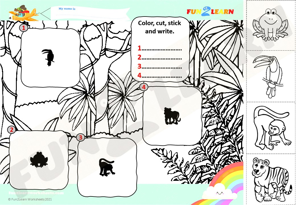 This free ESL worksheet for young learners was made to accompany theSuper SimplesongWalking In The Jungle!