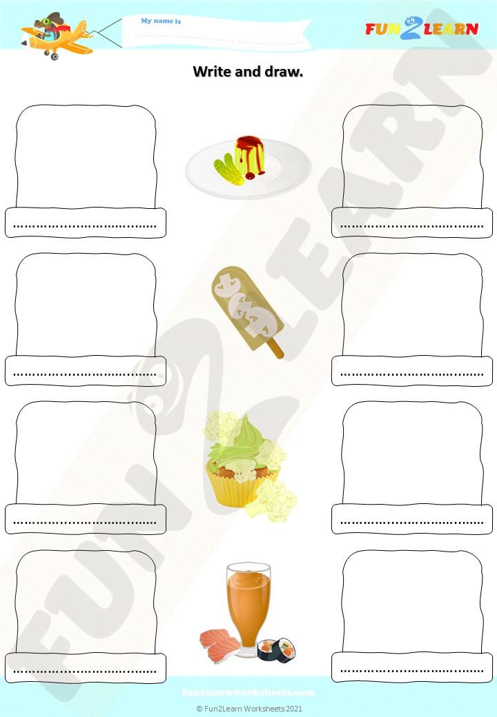 pickle pudding draw write worksheet