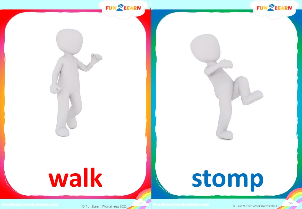walking jungle verbs flashcards