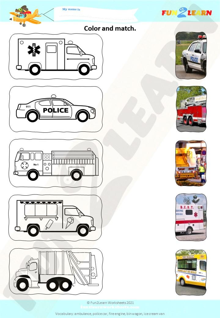 vehicles worksheet steve maggie