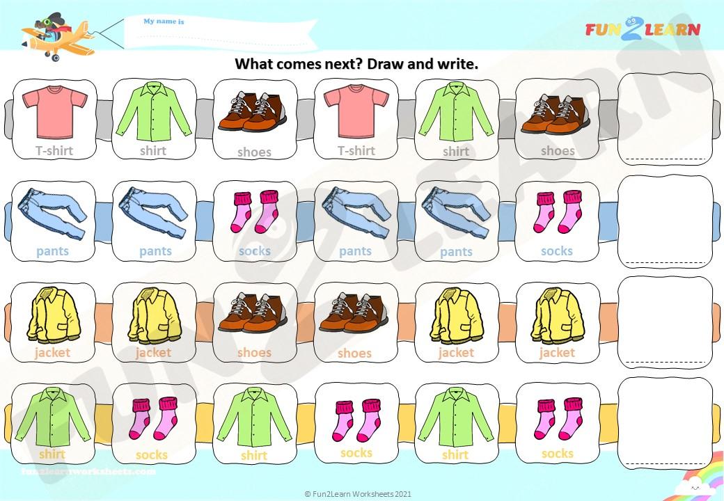 get dressed clothes worksheet