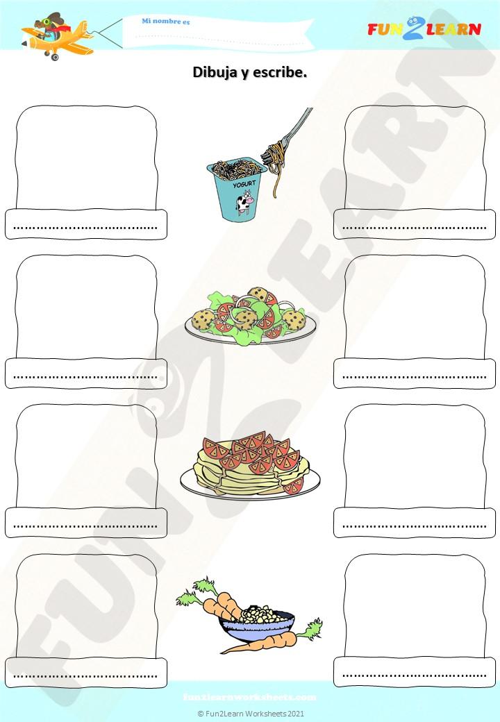 espagueti yogur spanish worksheet